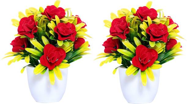 NERAPI Artificial Red Rose Flower (Pack of 2) Multicolor Rose Artificial Flower  with Pot
