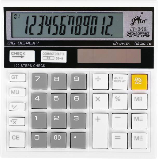 jito 12 Digits JT-512 White - Grey 1 Year Warranty Basic  Calculator