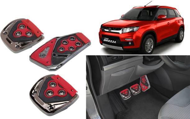 Selifaur 3 Pcs Red Non-Slip Manual Car Pedals kit Pad Covers Set for Brezza Car Pedal