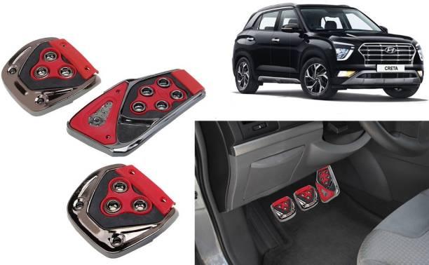 Selifaur 3 Pcs Red Non-Slip Manual Car Pedals kit Pad Covers Set for Creta 2020 Car Pedal