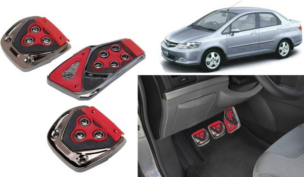 Selifaur 3 Pcs Red Non-Slip Manual Car Pedals kit Pad Covers Set for City ZX Car Pedal