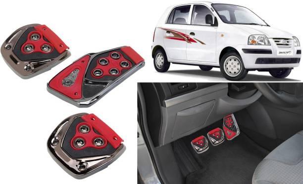 Selifaur 3 Pcs Red Non-Slip Manual Car Pedals kit Pad Covers Set for Santro Xing Car Pedal