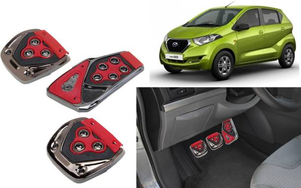 Selifaur 3 Pcs Red Non-Slip Manual Car Pedals kit Pad Covers Set for Datsun Redi Go Car Pedal