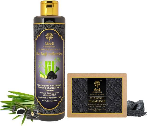 Khadi Essentials Combo of Charcoal Vitamin C Face Wash 200ml + Charcoal Sugar Bath Bar 100gm for Deep Cleanse and De-Tan