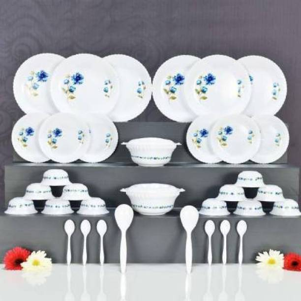 SAXAT Pack of 36 Plastic Multipurpose, Exclusive and Microwave Safe, Plastic Printed Round Dinner Set