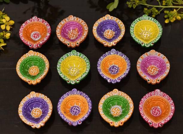 Collectible India Clay Diyas Diya For Diwali Deepak Earthen Assorted Colorful Set - Diwali Decoration Puja - Handpainted Diya for Home Indoor Outdoor Diwali Design Handmade Mix Color Terracotta (Pack of 8) Table Diya Set