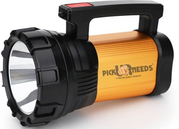 Pick Ur Needs 100 Watt LED Metal Long Range Emergency Search Torch Light With Bilinker 1 Km Range Torch Emergency Light