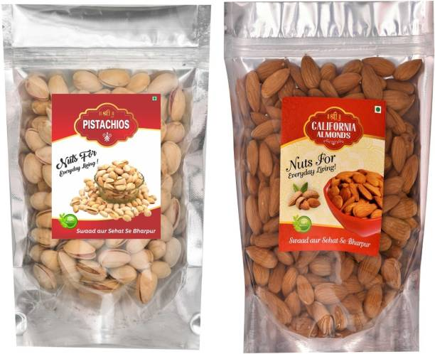 Shree Gold PREMIUM QUALITY ROSTED PISTA /PISTACHIOS + ALMONDS/BADAM Combo