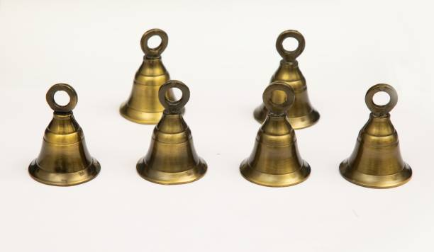 AROHA Studio Pooja Mandir Bell 1.5 Inch Brass Decorative Bell (Antique, Pack of 6 with J Hook) Brass Pooja Bell