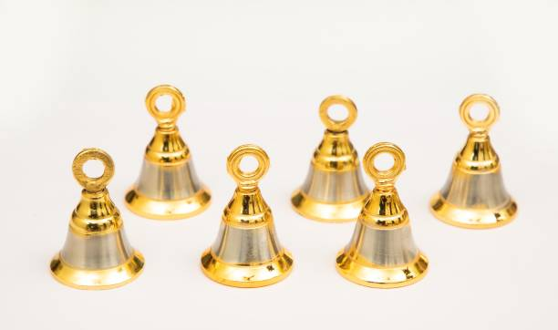AROHA Studio Pooja Mandir Bell 1.5 Inch Pooja Decorative Bell (Gold Silver, Pack of 6) Gold Plated Pooja Bell