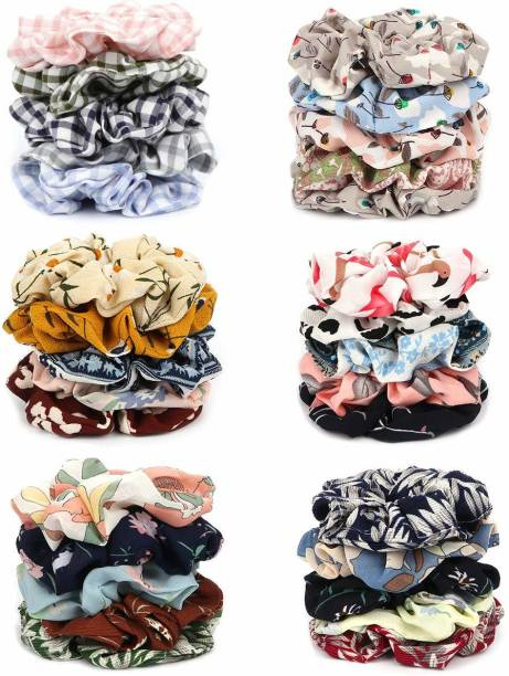RAINBOW RETAIL 30 Pcs Chiffon Hair Bands Ponytail Ties Hair Scrunchies Flower Hair Scrunchies Girl Hair Accessory, Great for Casual and Party Dress Rubber Band