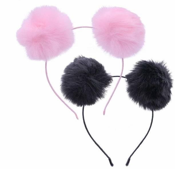 AZEFFIA Girls Fluffy Fur Ball Headband Pom Pom Ball Hair Band Hair Accessories (Random Color) Pack Of 2 Hair Band