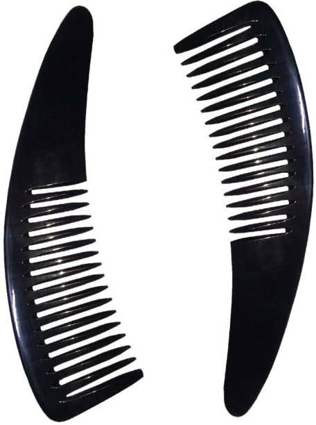 """Ginni Marketing Handmade, 100% Natural Buffalo Horn Comb (Non-static) (for hair regrowth, for men, for women, for kids)(black)(Size-7"""")(Pack of 2)"""