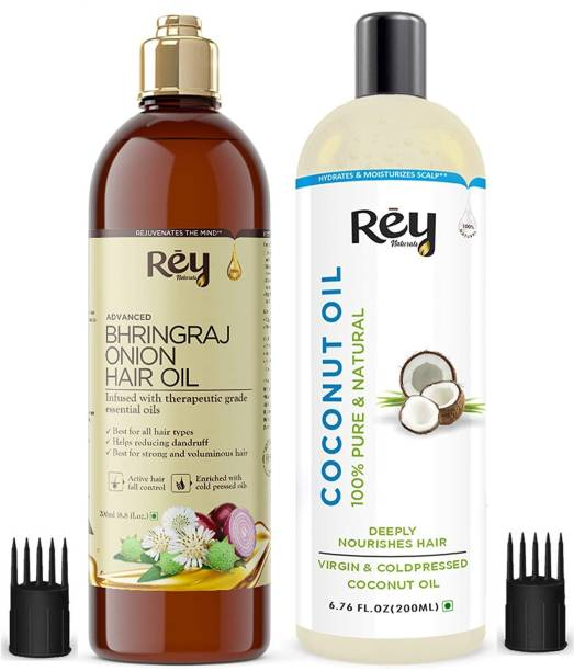 Rey Naturals Hair oils combo (Coconut oil + Bhringraj oil) controls hairfall - For healthy hair - No Mineral Oil, Silicones & Synthetic Fragrance Hair Oil