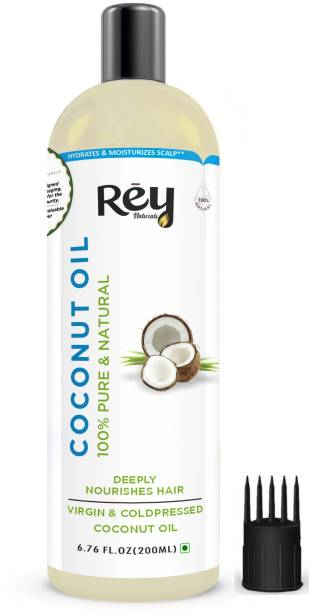 Rey Naturals Cold Pressed Coconut oil for hair and skin - 100% Pure & Natural , 200 ml Hair Oil