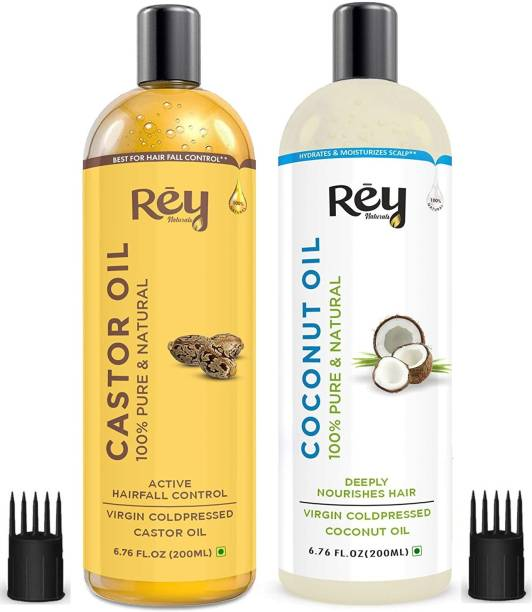 Rey Naturals Cold-Pressed, 100% Pure Castor Oil & Coconut Oil - Moisturizing & Healing, For Skin, Hair Care, Eyelashes (200 ml + 200 ml) super saver combo Hair Oil