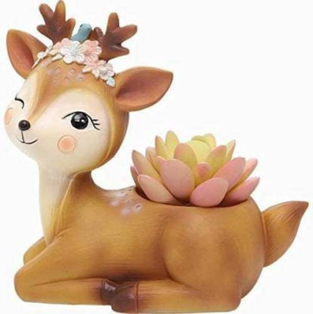 Beebom Craft Handcrafted Resin Deer Succulent Planter Pots Flower Pot Creative Animal Home and Garden Decor MD-001(Plant Not Included) Plant Container Set