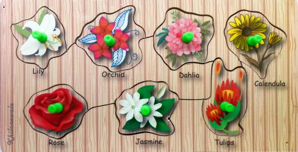 Khilonewale Wooden Puzzles Set for Toddlers 2 3 4 Years Old, Flower Educational Puzzle