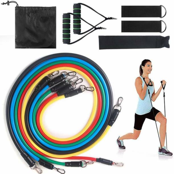 iSweven 11Pc Resistance Bands Elastic Rubber Rope Sport Expander Bodybuilding Exercise Set Resistance Tube