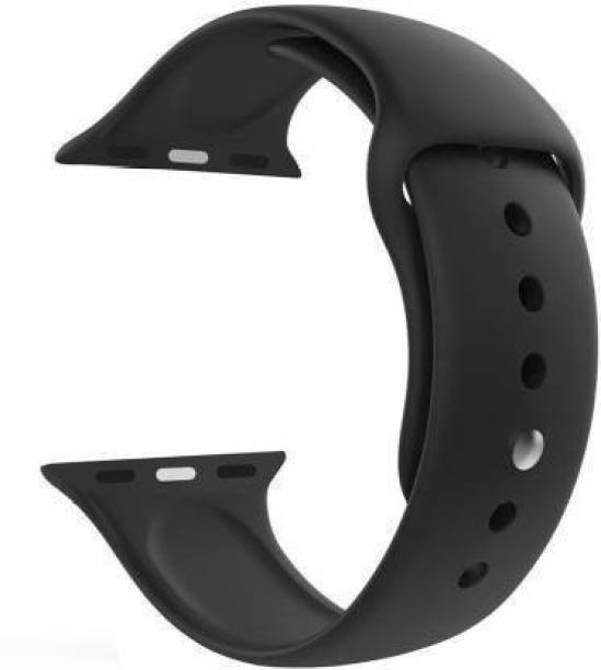 ezzy wzzy Premium Quality Black Silicone Smart Replacement Wrist Strap For iWatch 42mm/44mm Smart Watch Strap