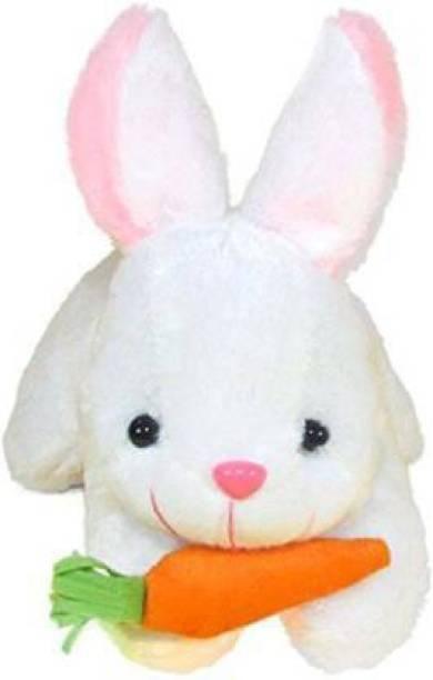 Shanshu White Rabbit Soft toy for kids Playing Teddy Bear Loveable & Huggable in Size of 24.5 Cm long - 24.5 cm (White) - 24.5 cm (White)  - 24.5 cm