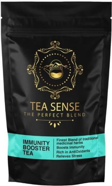 Tea Sense Immunity Booster Tea Herbs, Amla, Senna, Turmeric, Lemon Grass, Black Pepper, Tulsi, Turmeric Herbal Tea Pouch