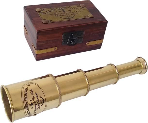 "Shoptreed Vintage Nautical 4 fold 7"" Victorian Marine Full Brass Telescope with Wood Box Catadioptric Telescope"