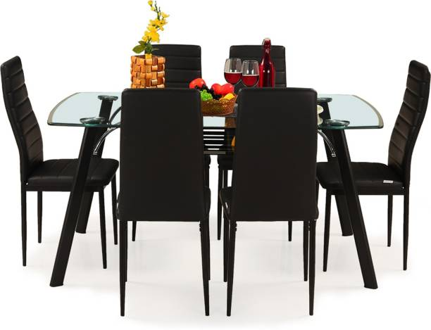 RoyalOak Milan Italian Glass 6 Seater Dining Set