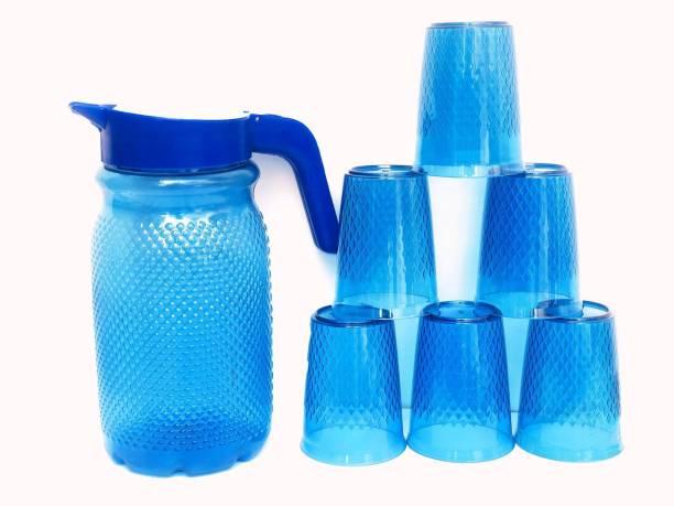 Techhark Jug with Beautiful 6 Pcs Glasses Set for Juice/Water Serve Jug Glass Set