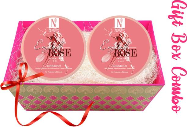 NutriGlow NATURAL'S Diwali Gift Set Combo- English Rose Hydrating Gel (200g) With French Clay (200g)