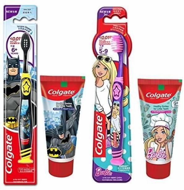 Colgate Kids Anti cavity extra Soft Tongue Cleaner Toothbrush Batman + Barbie & Anticavity Batman + Barbie Toothpaste For Kids - 80g + 80g (Bubble Fruit Flavour) Soft - 1 pc