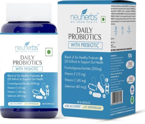 Neuherbs Daily Probiotics Supplement with Prebiotic Plain Capsules