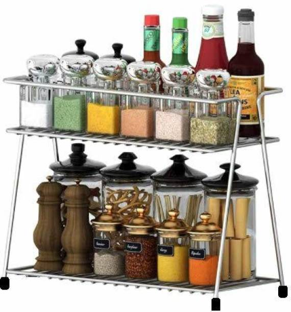 BMS Lifestyle Stainless Steel Spice Trolley Container Organiser/Basket for Boxes/ Bathroom Organiser/Utensils Dishes Plates for Home Containers Kitchen Rack