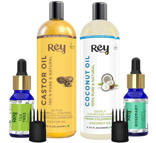 Rey Naturals Hair oils combo/hair care kit (Castor oil + Coconut oil + Tea tree oil + Rosemary oil) controls hairfall - For healthy hair - No Mineral Oil, Silicones & Synthetic Fragrance Hair Oil