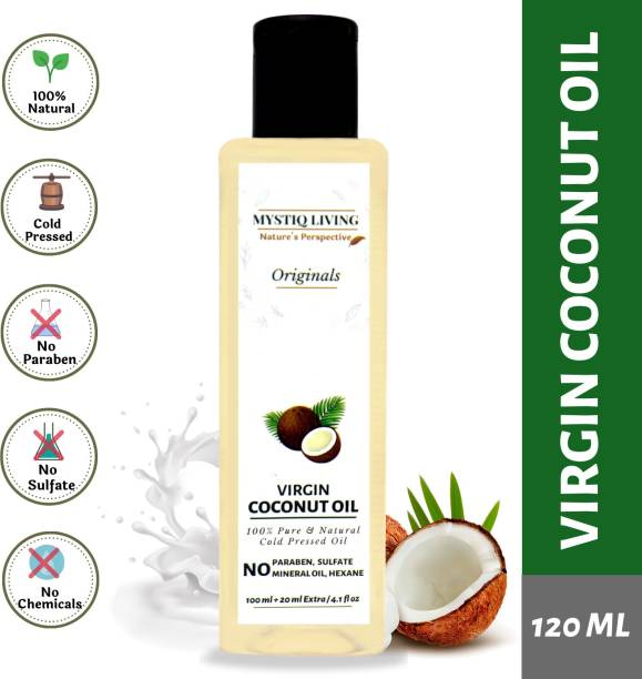 Mystiq Living Virgin Coconut Oil (Cold Pressed) For Skin & Hair 100% Pure & Natural (Organic) - 120 ml
