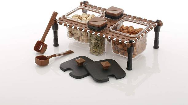 Parmukh Enterprise New Traditional Looked Rajwadi Khatli StyleSpice Rack Set with Holders |Spice Jar for Kitchen 2 in 1 Spice & Pickle Container for Kitchen, khatli Style Spice Rack 1 Piece Spice Set 2 in 1 Spice & Pickle Container for Kitchen, khatli Style Spice Rack Plastic Crockery Cabinet