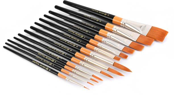 Artist's Den Set of 13 Mix Round & Flat Brushes