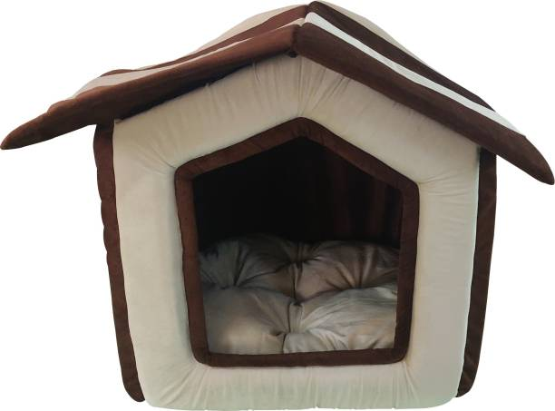 Dogerman Foldable Foam Velvet Fabric Dual Colour House Hut Bed for Small Breed Dogs And Cats (41x44x45 cms) Small S Pet Bed