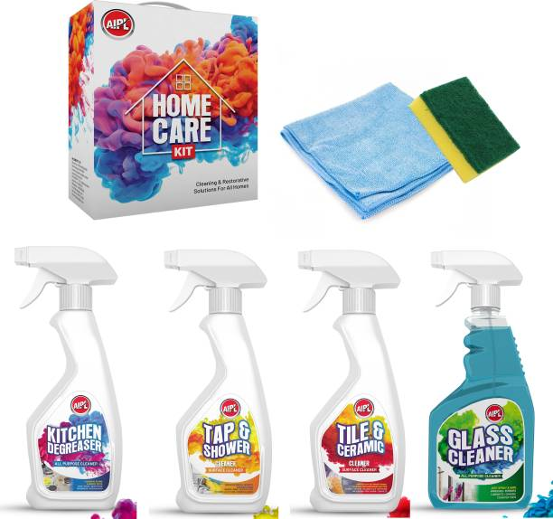 Aipl 6in1 Home Cleaning Kit for you Daily Home Cleaning Needs - Micro Fiber , Scrub Pad, Glass Cleaner , Tiles Cleaner, Kitchen Degreaser & Tap & Shower Cleaner