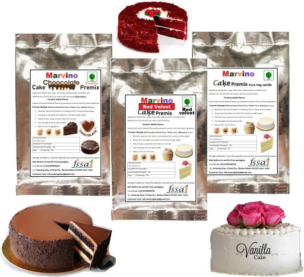 Marvino Cake Premix Chocolate Red velvet Vanilla Veg 450 g
