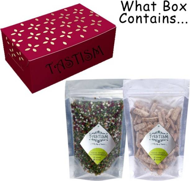 Tastism Diwali Gift Hamper Home Made Mukhwas/ Mouth Fresheners (Box of 200Gms X 2) -Khus Mix Mukhwas [Seeds and Nuts Mix Mouth Freshner ]+Masala Aam Papad Mango Slice Churan Sweet, Sour Mouth Freshener