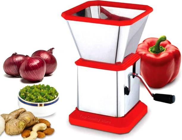 Top Quality Store Power Free Kitchen MallMultipurpose Manual Vegetable, Dry Fruit and Onion Handy Chopper and Quick Cutter Machine for Kitchen with Stainless Steel Blade Vegetable & Fruit Chopper