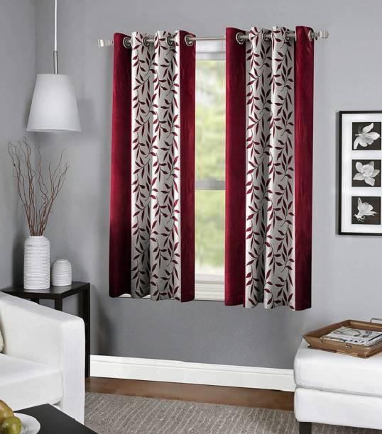 Panipat Textile Hub 152.4 cm (5 ft) Polyester Window Curtain (Pack Of 2)