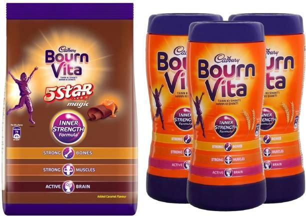 Cadbury Bournvita 5 Star Magic 750 G Pouch , Inner Strength 200 G X 3 Jar Energy Drink