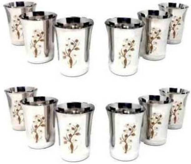 MISKU (Pack of 12) flower glass pack of 12 per pic 400 ml Glass Set