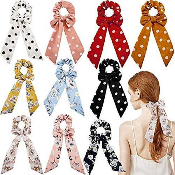 AZEFFIA Elastic Hair Bands/Ties Ribbon/Scarf Ponytail Scrunchies for Women - Set of 10 Multicolor Hair Band Rubber Band