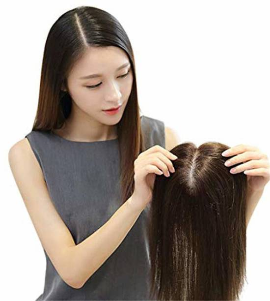 Ritzkart 16 inch natural black Women  Topper/Patch For Front Baldness Cover Area, Feel Real Human  High Fiber With High Density , Straight & Natural Black  Women Topper Hair Extension