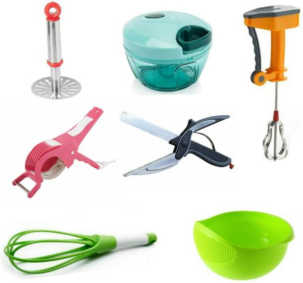 RINK N JASH COMBO 701 BHAJI MASHER, PLASTIC WHISK, CLEVER CUTTER, HANDY CHOPPER, 2 IN 1 CUTTER & PEELER, POWER FREE BLENDER, RICE BOWL Multicolor Kitchen Tool Set