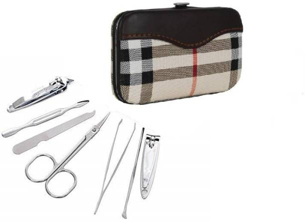 AVEU Maniure and Pedicure Leather 7 In 1 Stainless Steel Travel & Grooming Kit ( Nail Cutter, Nail Clipper, Tweezers, Scissor, Nail Filer, Ear Cleaner, Cuticle Pusher)