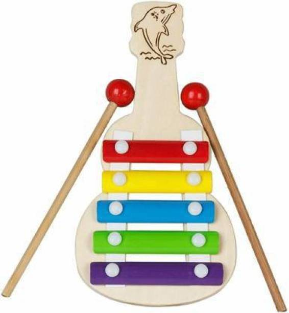 Betterbuy Xylophone Guitar Wooden (5 Nodes) | Kids First Musical Sound Instrument Toy | Babies Toddlers 6 Months + (Multicolor)